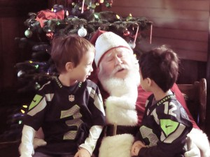 visiting santa wearing seahawks