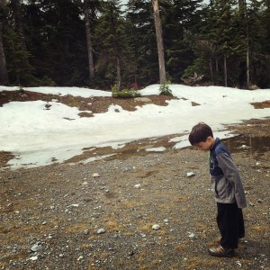 Snoqualmie Pass with kids there is still snow in April