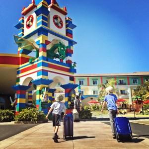 Kids arriving at Legoland hotel