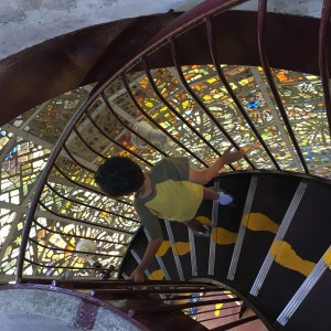 Stained glass art tower in Hakone japan