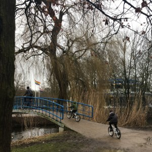 Biking in the Vondelpark in Amsterdam with kids