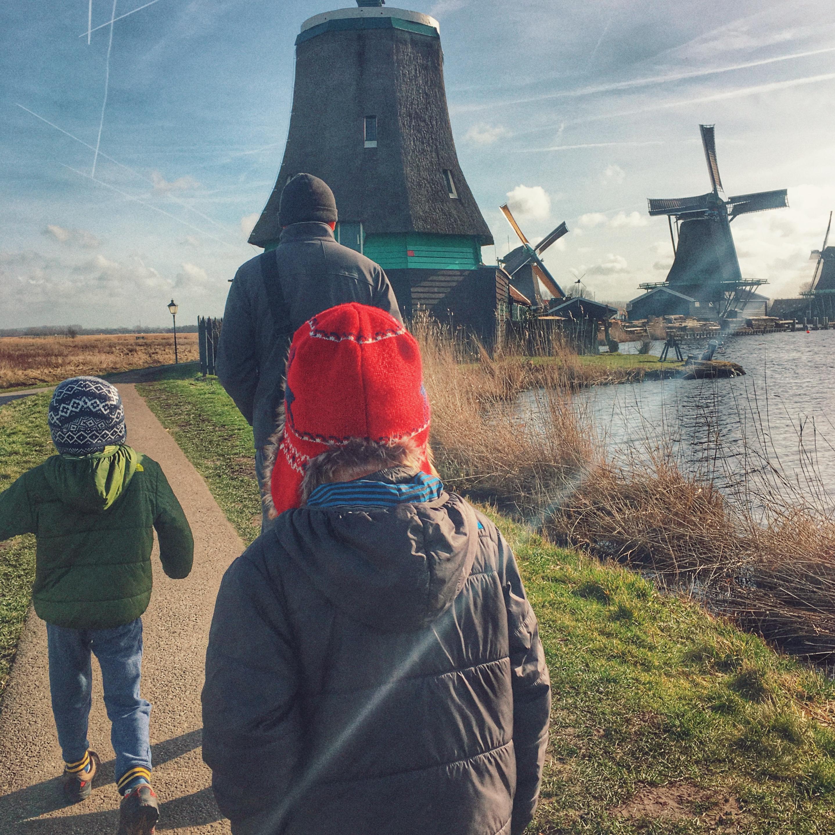 Zaanse Schans windmills near Amsterdam with kids