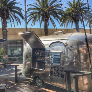 Find books in a airstream trailer at the Ink and Bean Cafe in Anaheim California