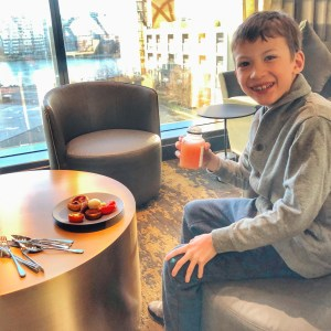 Breakfast in the Lounge at Parq Marriott in Vancouver with kids