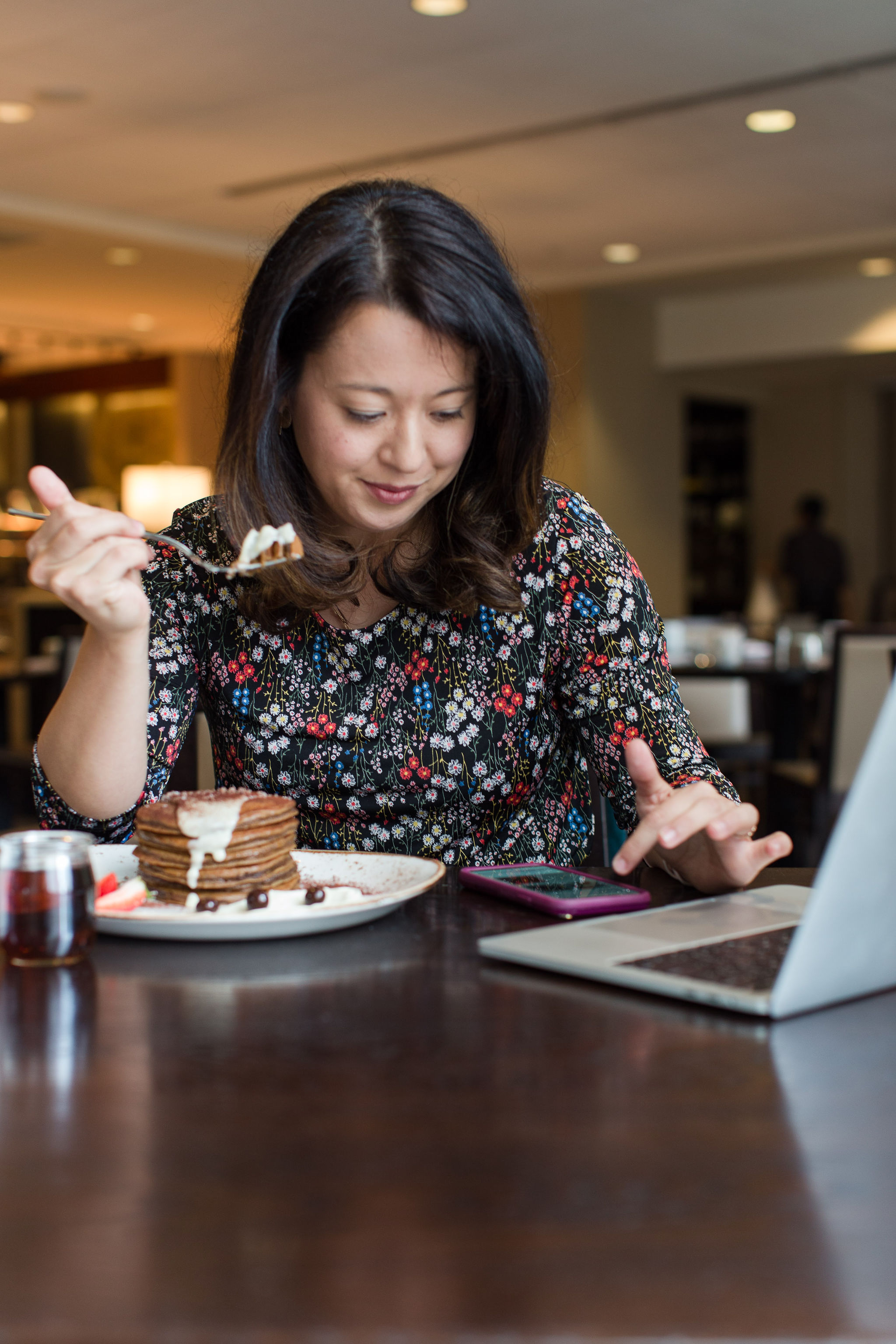 Working and eating brunch at Eques Restaurant in the Hyatt Regency Bellevue Washington