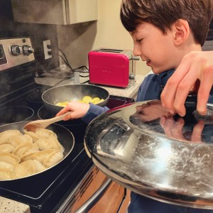 cooking Ling Ling potstickers with my 10 year old as an easy delicious dinner