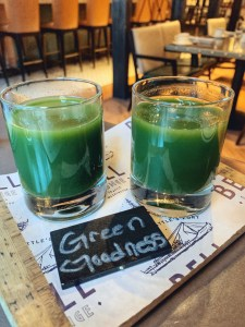 Green Goodness smoothies at the All Water Seafood and Oyster bar at breakfast in Seattle