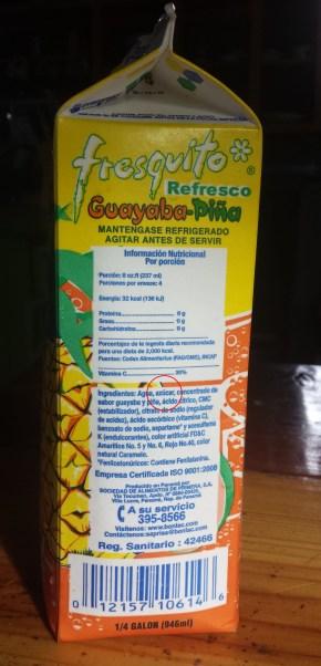 Ingrediensliste pa juice (beskaret, med cirkel)