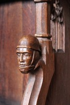 Pew Carving of WWI Soldier at St. Lorenz