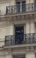 Serenaded by a trumpeter outside Notre Dame.