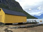 A boat house and dock in Solvorn.