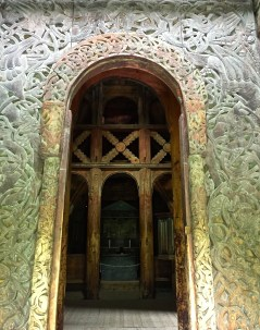 This portal contains lavishly entwined animals similar to pagan designs used by the Vikings. It's believed that most stave churches are built on top of sacred pagan sites. (This is true of most old Christian churches in general.)