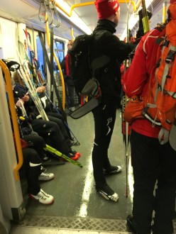 A surprisingly crowded train testifies to the number of folks who went further up the mountain to ski.