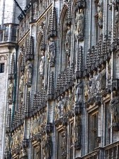 A closeup of the prickly gothic statues on the facade of the Town Hall, situated along one side of the square. Belgium's Crown Prince Philippe got married here in 1999.