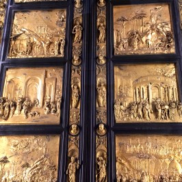 """Ghiberti so impressed the guild with his work on the north doors that he was awarded the commission of the east doors pictured here, which took another 27 years to complete. For this set of portals, Ghiberti used """"rilievo schiacciato"""" (meaning """"flattened relief"""") -- a method invented by Donatello -- to create incredible 3-D compositions depicting Old Testament stories. Michelangelo himself was so impressed with Ghiberti's work that he nicknamed the doors the """"Gates of Paradise."""""""