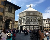 One of the oldest buildings in Florence, the Baptistery was constructed between 1059 and 1128. It's done in Florentine Romanesque style, which includes an eight-sided design symbolizing the six days of creation, the seventh day of rest, and the eighth day of re-birth upon completion of the baptismal ceremony.
