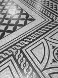 A detail of the beautiful, Greek-styled mosaic floor demonstrates that no expense was spared in the creation of the building, which is made mostly of native Hungarian materials.