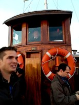 Check out the captain in the wheelhouse -- doesn't he look like something right out of the pages of history?