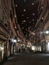 Zürich has some of the best holiday displays we've seen. Strands of lights hung vertically over the street looked like falling stars.