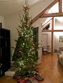 Here's our attempt at a Norwegian Christmas tree with all the trimmings: metal pigs, straw stars, red ribbons, and Christmas goats (Julebukk) made out of horn. For more on the Julebukk, read some of my Xmas posts from previous years.