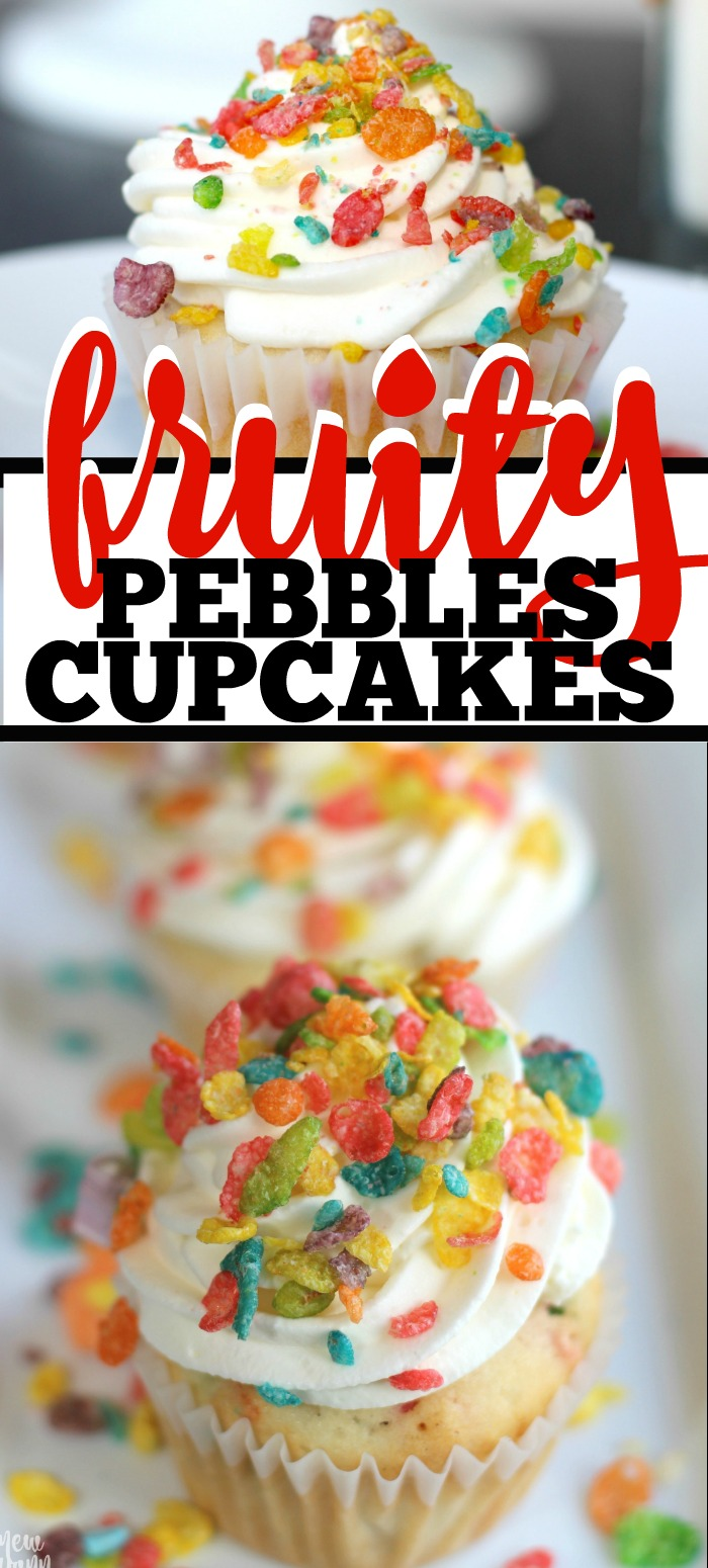 Take your love of cereal to a whole new level with these Marshmallow Fruit Pebbles Cupcakes!