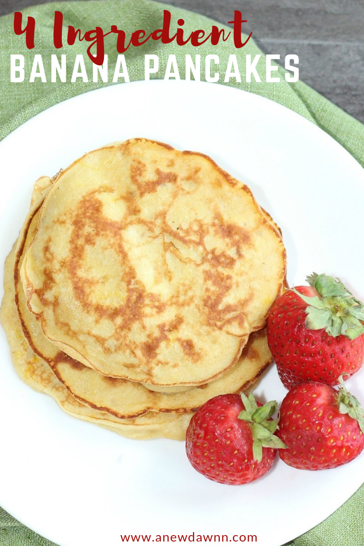 Easy, Delicious and only 4 ingredients, these banana pancakes are a delicious way to start the day.