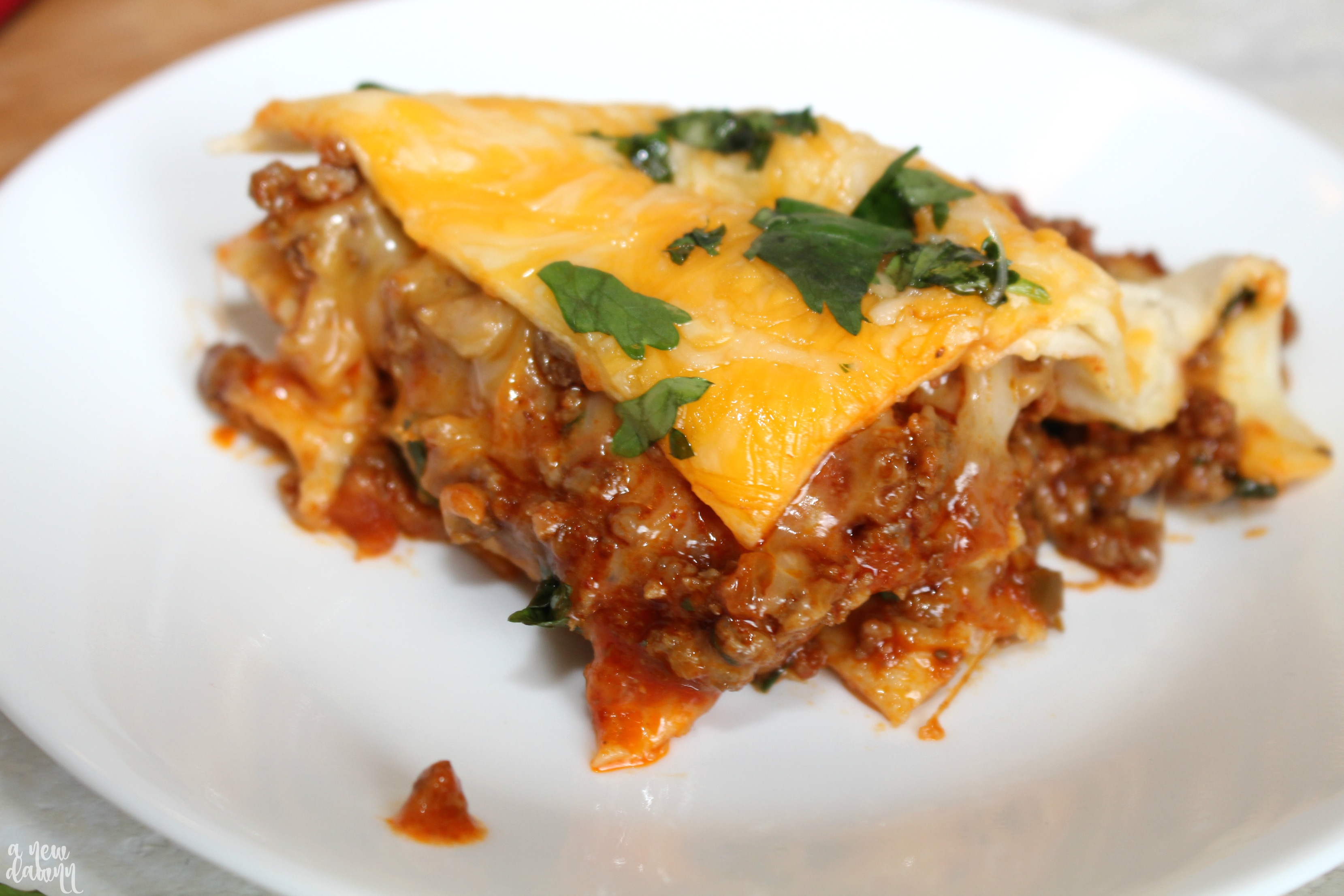 Cheesy Beef Enchilada Casserole