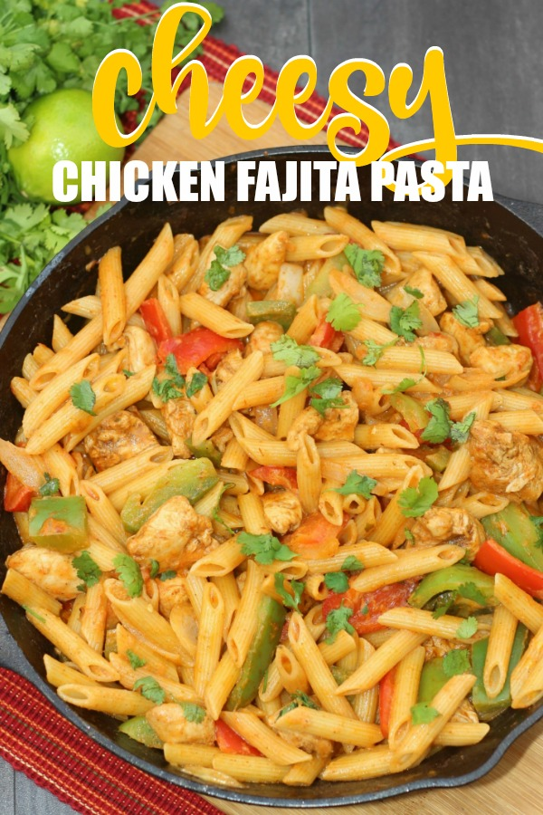 This Cheesy Chicken Fajita Pasta Recipe will transform your dinners. Ready in under 30 minutes and packed full of flavor, dinner never tasted so good.