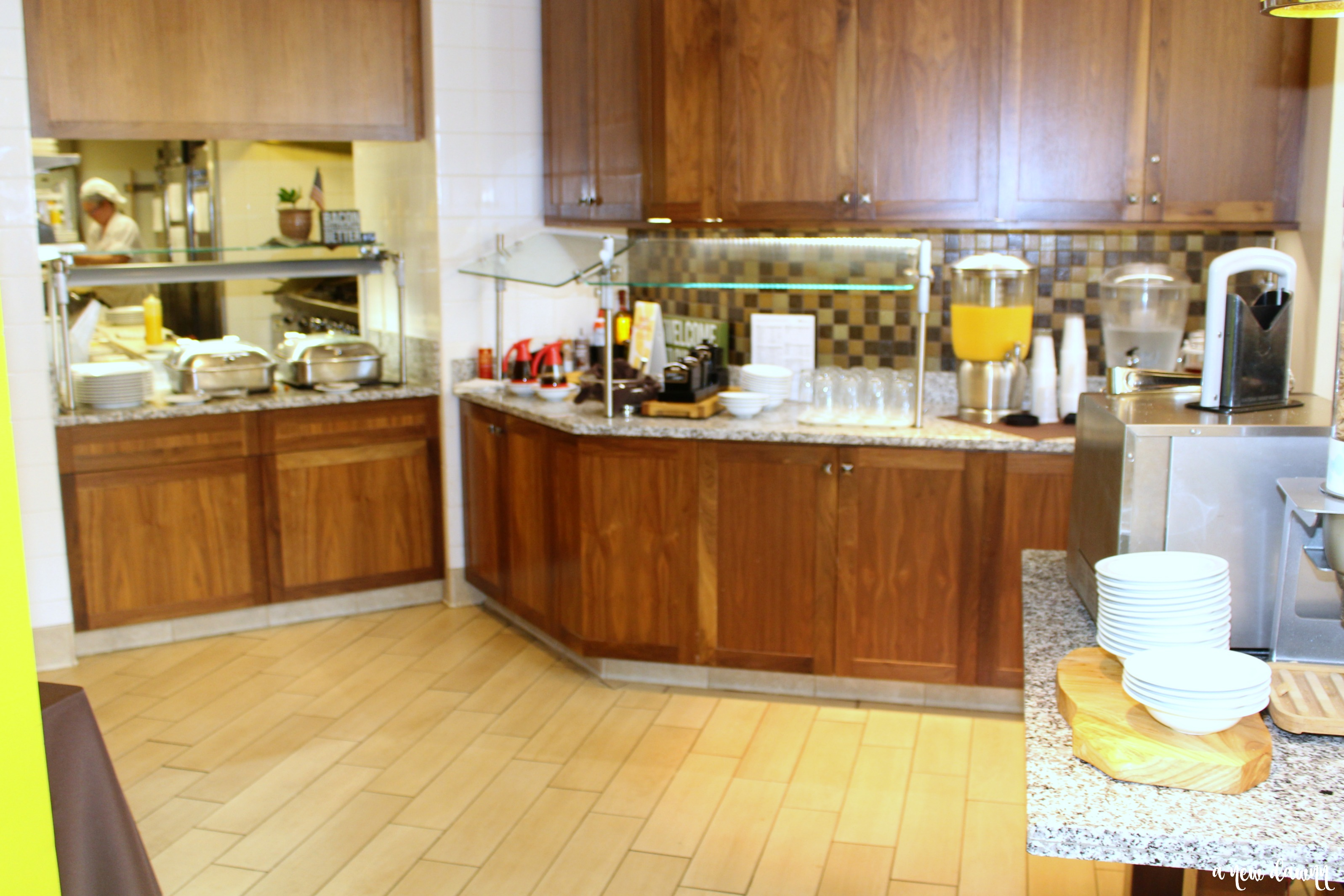 Breakfast buffet area at the Hilton Garden Inn Hershey