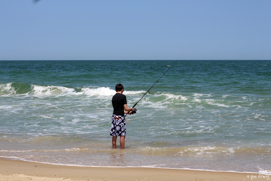 Surf fishing in Nags Head, NC