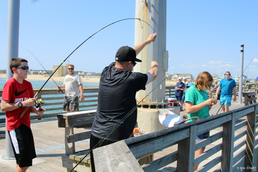 Catching a fish at Jennette's Pier in Nags Head, NC