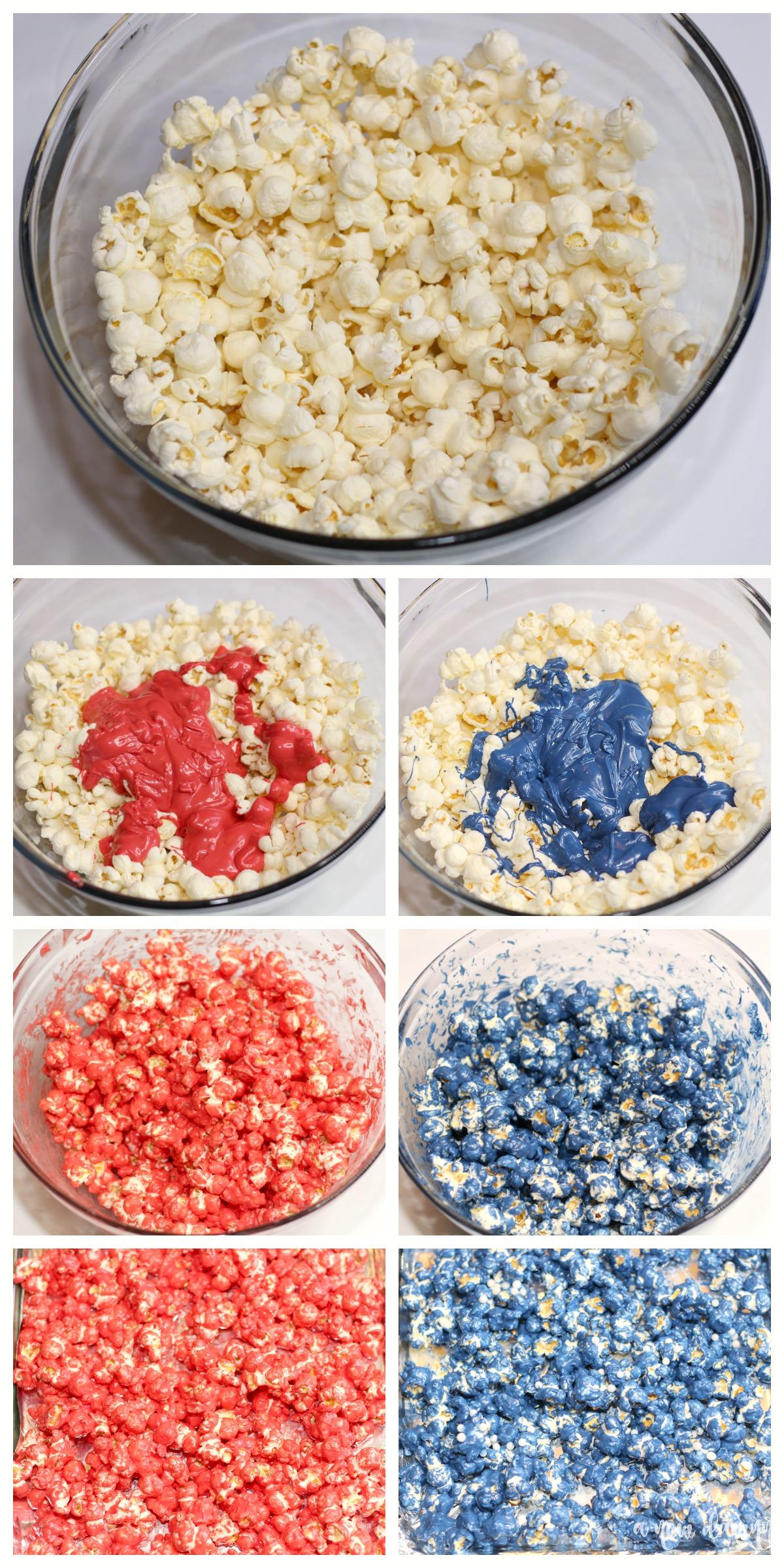 steps to make the patriotic popcorn