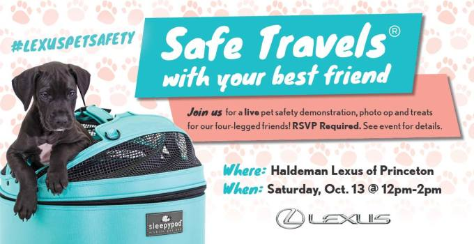 Come Out to the Lexus Pet Safety Event & Learn Pet Safety Tips with Haldeman Lexus & Sleepypod