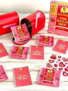sunmaid sour raisins and Valentine's Day cards