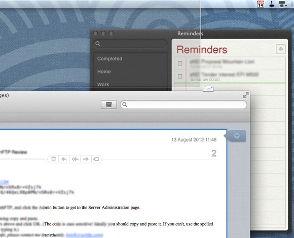 Dragging a message to Reminders instantly creates a reminder in Mountain Lion