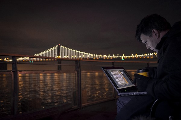 Artist Leo Villareal tests the sequencing of The Bay Lights. Photo by Lucas Saugen