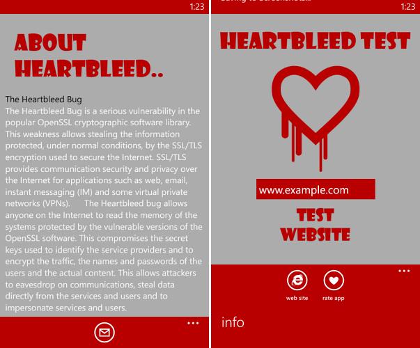 Heartbleed Windows Phone App
