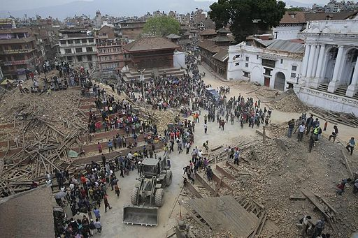 nepal earthquake Durbar Square at Basantapur in old Kathmandu