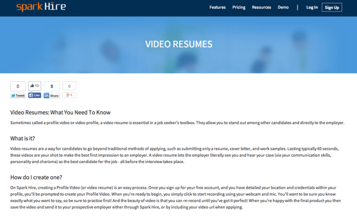 video resume 1 spark hire