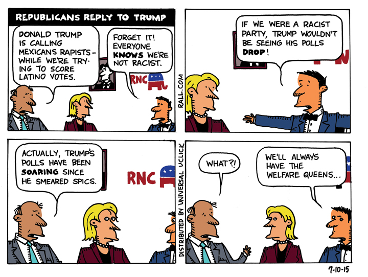 Donald Trump and other racists in the US Republican party, cartoon by Ted Rall