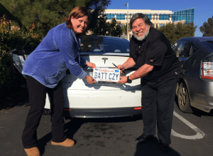 Steve Wozniak with his Tesla and Janet Wozniak