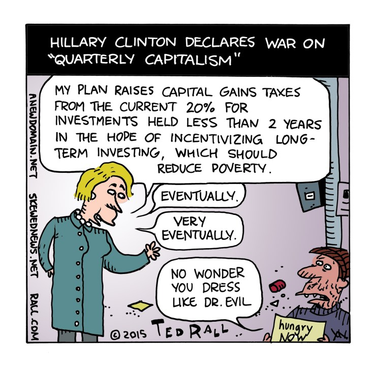 Hillary Clinton says the problem with capitalism is the emphasis on quarterly profits. She's right, but reforms won't help people who are miserable right now.
