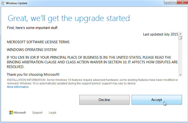how to upgrade windows 7 to windows 10 first window EULA
