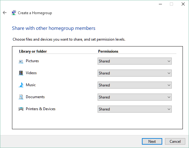Homegroup configuration How to Create a Windows 10 Homegroup