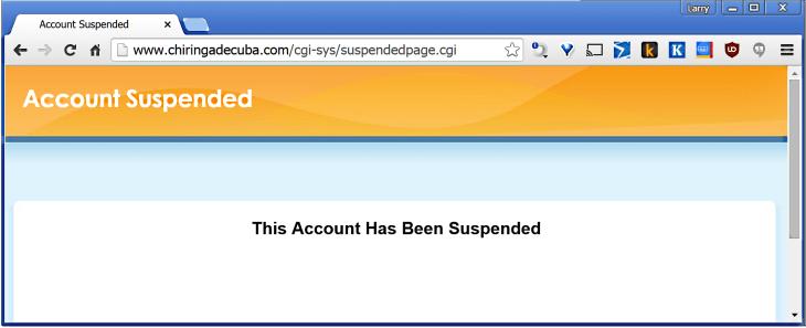 Chiringa de Cuba suspended notice