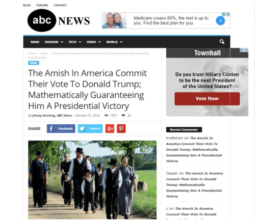 amish hoax amish support donald trump fake news fake media abc cnn paramedia Gina Smith