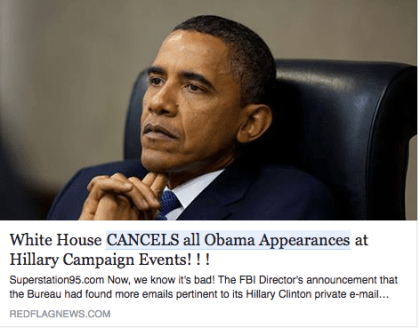fake news obama cancels all appearances at Hillary events fake media paramedia
