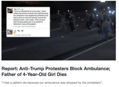 fake news anti trump protest blocks ambulance
