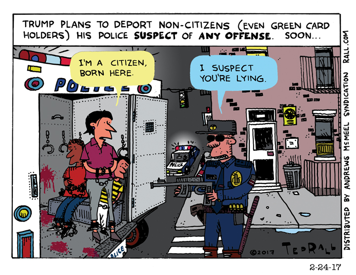 Ted Rall cartoon deport green cards holder