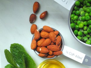 Almonds, peas, and mint